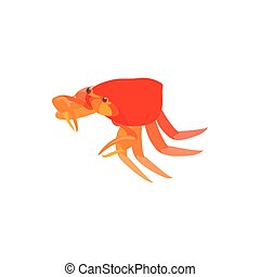 Crab with small claws icon, cartoon style