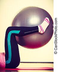 Llevando, deportivo, calcetines, equipo,  leggins, niña