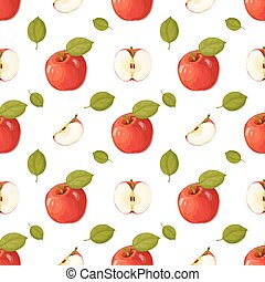 Apples. Seamless pattern isolated on white background