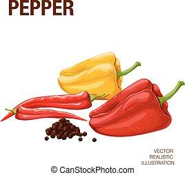 Peper - Sweet pepper. Pepper bitter. Black pepper. The...