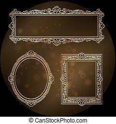 Gold frames on black background