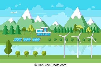 Flat landscape illustration.