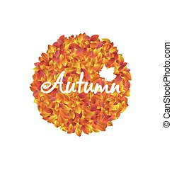 Autumn Round Frame with Orange and Yellow Leaves -...