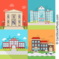 Set Municipal Buildings - City Hall, Hospital, School and...