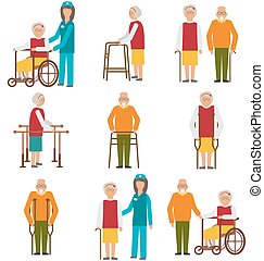 Set of Older People Disabled Elderly People in Different...
