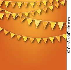 Autumnal Decoration with Orange and Yellow Bunting Pennants...