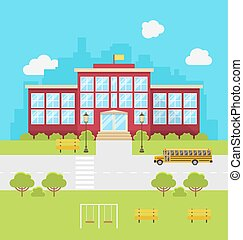 School Building, Background for Back to School -...