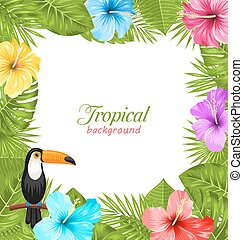 Tropical Background with Toucan Bird, Colorful Hibiscus Flowers