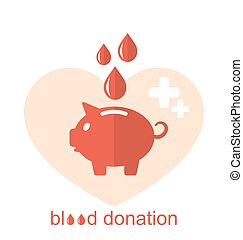 Concept Flat Medical Icons of Piggy Bank as Blood Donation