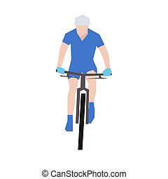 Mountain biking, flat vector illustration. Front view. Cyclist in blue jersey