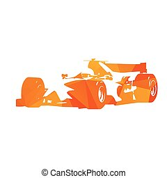 Abstract orange formula racing car. Isolated vector...