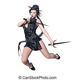 Female warrior - 3D CG rendering of a female warrior