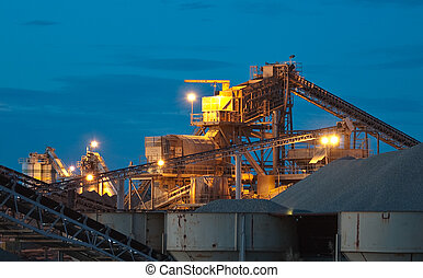 Sand and Gravel Quarry at Dusk - Nightime sand and gravel...