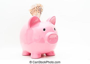 Detail of a piggy bank