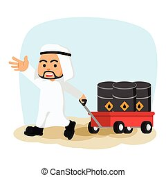 arab businessman pulling cart with oil barrels