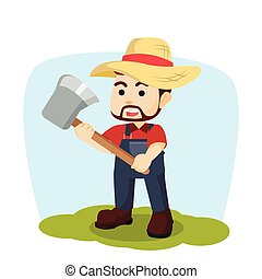 farmer holding axe illustration design