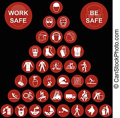 Red pyramid Health and Safety Icon - Red construction...