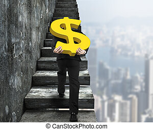 Man carrying golden dollar sign climbing old concrete...