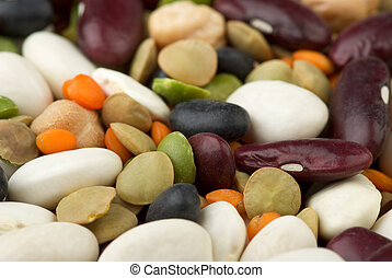 Mix of different beans - Abstract background: Mix of...