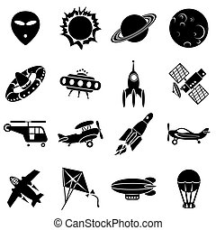 air and space - set of vector icons Air transport, flying...