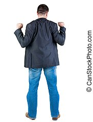 Businessman thumbs up rear view Isolated over white