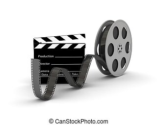 Film Slate with Movie Film Reel. 3d rendered image