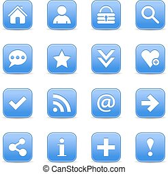 Blue satin icon web button with white basic sign
