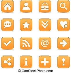 Orange satin icon web button with white basic sign