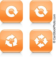 Orange icon refresh reload, rotation, repeat sign - 4 arrow...