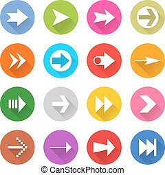 Arrow sign web icon set flat style