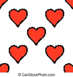 Seamless pattern with red heart sign with black line contour...