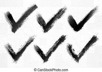 Check mark ink sketch on watercolor paper