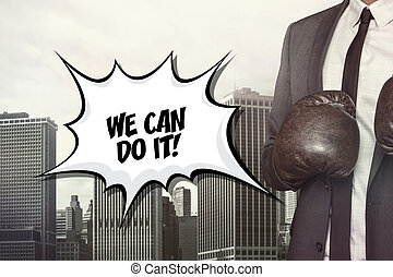 We can do it text on speech bubble with businessman wearing...