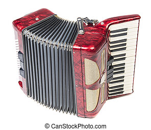 Accordion - Old red accordion isolated on a white background