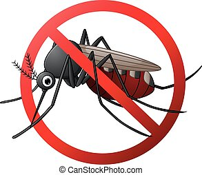 Stop mosquito cartoon - Vector illustration of Stop mosquito...