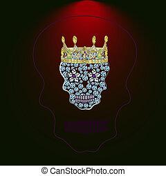 Skull of precious stones 4 - Skull of precious stones on a...