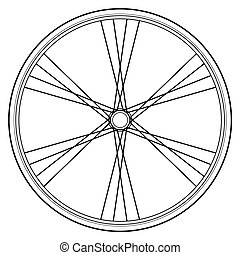 bike wheel vector - image of bike wheels isolated on white...