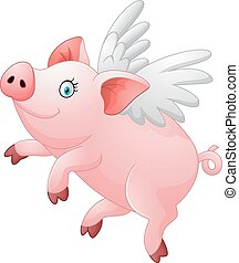 Cute pig cartoon flying - Vector illustration of Cute pig...