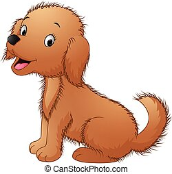 Cute dog sitting isolated on white - Vector illustration of...