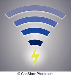 Icon of wireless charging devices via wi-fi Vector...