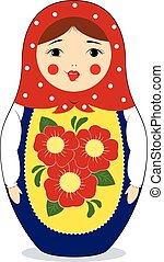 matryoshka with grimace - Vector colorful illustration of a...
