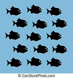 Shoal of piranha - Vector stylized graphic illustration of a...