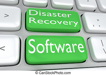 Disaster Recovery Software concept - 3D illustration of...