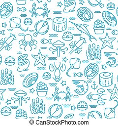 Outline seafood, sushi seamless vector pattern