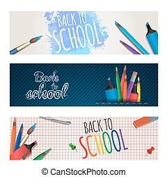 Set of horizontal banners back to school with stationery....