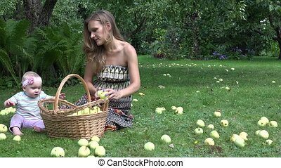 Villager woman in dress and her one year old baby daughter picking apples to wicker basket. 4K