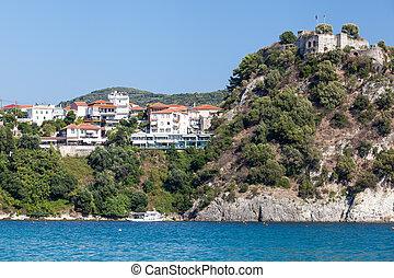 Parga Castle, view from Valtos Beach, Epirus, Greece