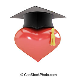 Heart sign graduation hat 3d Illustrations