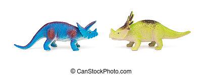 azul, Triceratops, y, verde, styracosaurus, juguetes, en,...