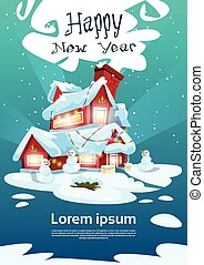 Christmas Eve Holiday House Winter Snow, Snowman Gift New Year Greeting Card